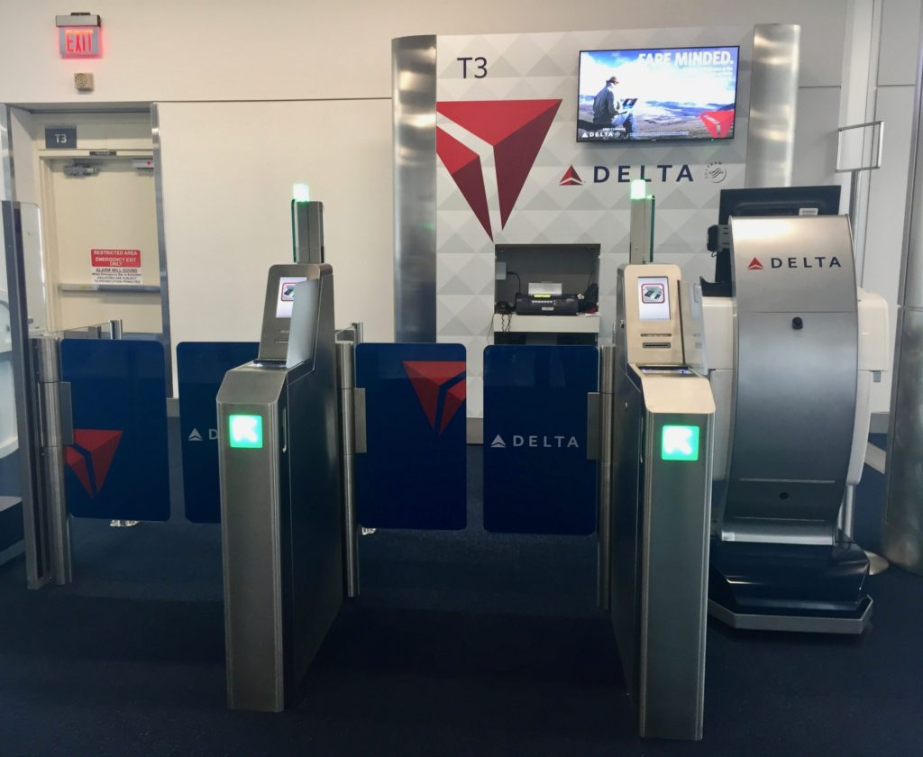 Two e-gates and Mobile Podium - Delta Air Lines Smart Boarding Experience Harsfield-Jackson Atlanta International Airport Gate T2