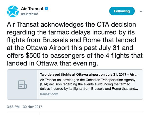 Air Transat Statement on Delayed Flights