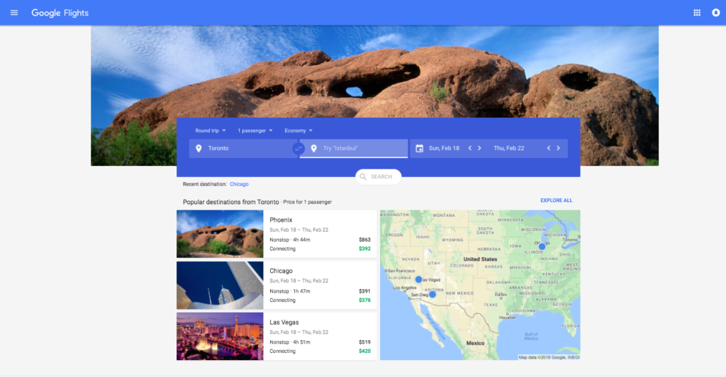Google Flights Opening Screen