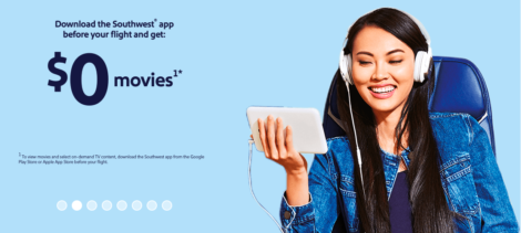 Southwest Airlines offers complimentary in flight movies on all flights starting November 1, 2018