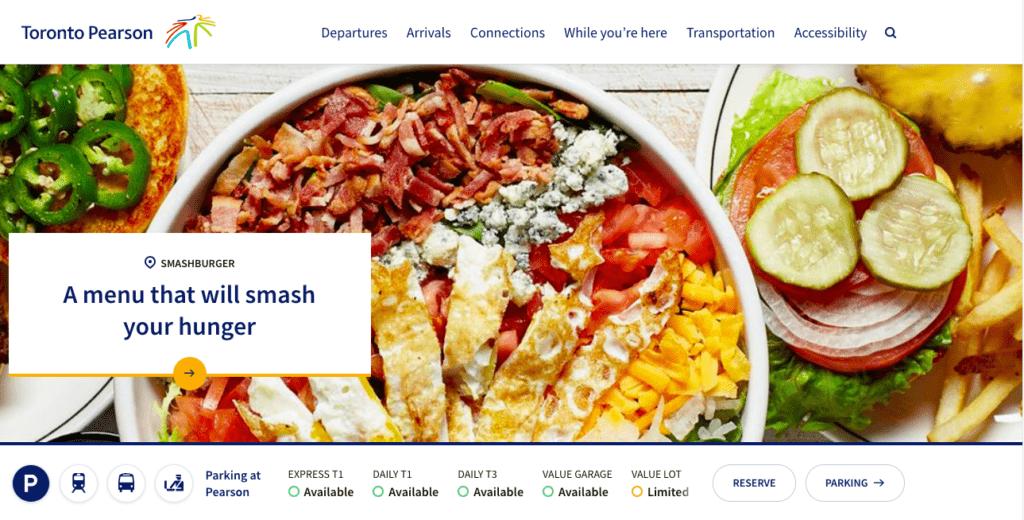 Main focus of the Toronto Pearson International Airport Website.